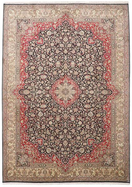 Kashmir Ren Silke Teppe 220X310 Ekte Orientalsk Håndknyttet Lysbrun/Brun (Silke, India)