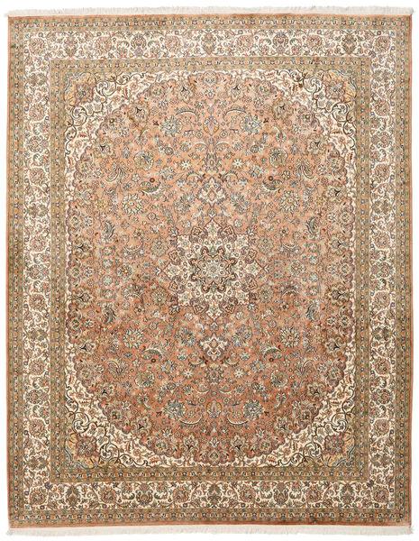 Kashmir 100% Silkki Matto 204X257 Itämainen Käsinsolmittu Vaaleanruskea/Ruskea (Silkki, Intia)