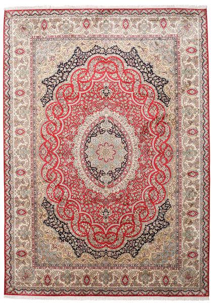 Kashmir 100% Silkki Matto 221X311 Itämainen Käsinsolmittu Vaaleanruskea/Vaaleanpunainen (Silkki, Intia)