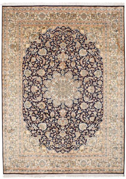 Kashmir Pure Silk Rug 174X239 Authentic  Oriental Handknotted Light Brown/Light Pink (Silk, India)