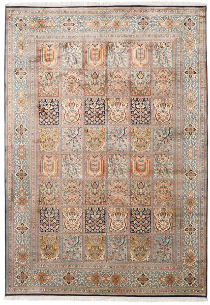 Kashmir Ren Silke Teppe 171X246 Ekte Orientalsk Håndknyttet Lysbrun/Mørk Brun (Silke, India)