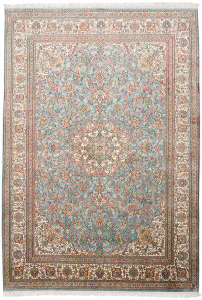 Kashmir Pure Silk Rug 174X250 Authentic  Oriental Handknotted Light Grey/Brown (Silk, India)