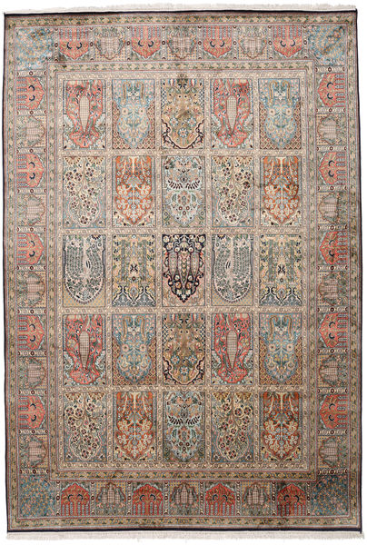 Kashmir Ren Silke Teppe 190X276 Ekte Orientalsk Håndknyttet Lysbrun/Mørk Grå (Silke, India)