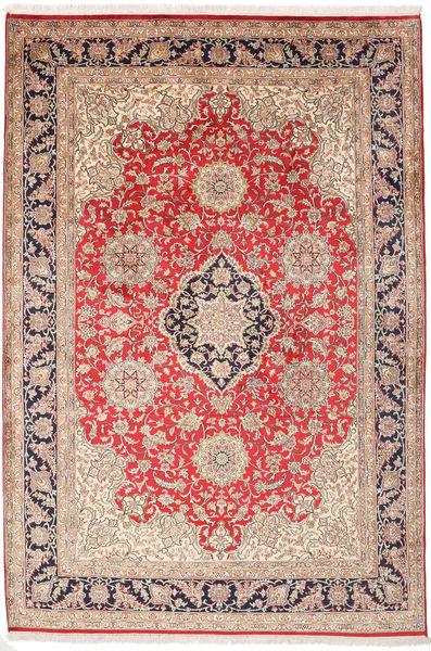 Kashmir 100% Silkki Matto 182X270 Itämainen Käsinsolmittu Vaaleanruskea/Vaaleanpunainen (Silkki, Intia)