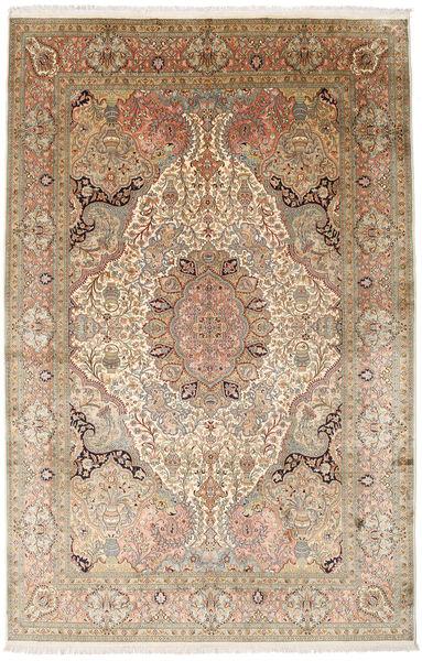 Kashmir Ren Silke Teppe 182X278 Ekte Orientalsk Håndknyttet Lysbrun/Brun (Silke, India)