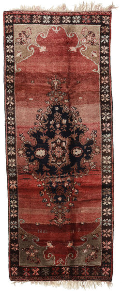 Herki Vintage Matta 163X408 Äkta Orientalisk Handknuten Hallmatta Mörkröd/Mörkbrun (Ull, Turkiet)