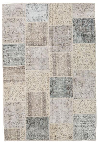Patchwork Matto 157X234 Moderni Käsinsolmittu Vaaleanharmaa/Vaaleanruskea (Villa, Turkki)