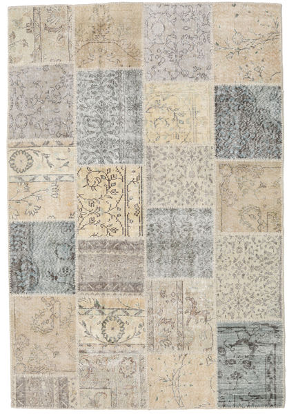 Patchwork Rug 159X236 Authentic  Modern Handknotted Light Grey/Light Brown (Wool, Turkey)