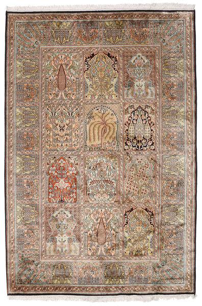 Kashmir Ren Silke Teppe 128X192 Ekte Orientalsk Håndknyttet Lysbrun/Brun (Silke, India)