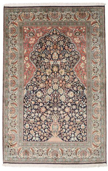 Kashmir Ren Silke Teppe 122X189 Ekte Orientalsk Håndknyttet Lys Grå/Lysbrun (Silke, India)