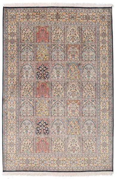 Kashmir Ren Silke Teppe 125X187 Ekte Orientalsk Håndknyttet Lys Grå/Lysbrun (Silke, India)
