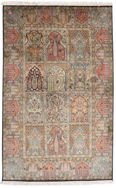 Kashmir Ren Silke Teppe 121X192 Ekte Orientalsk Håndknyttet Lysbrun/Lys Grå (Silke, India)