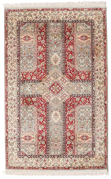 Kashmir 100% Silkki Matto 96X146 Itämainen Käsinsolmittu Vaaleanruskea/Vaaleanpunainen (Silkki, Intia)