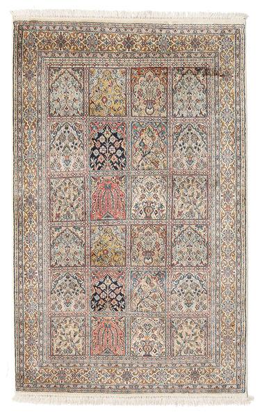 Kashmir 100% Silkki Matto 93X149 Itämainen Käsinsolmittu Vaaleanruskea/Vaaleanharmaa (Silkki, Intia)