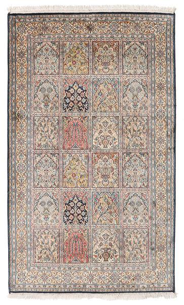 Kashmir 100% Silkki Matto 94X155 Itämainen Käsinsolmittu Vaaleanruskea/Vaaleanharmaa (Silkki, Intia)