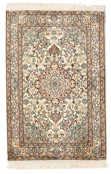 Kashmir Pure Silk Rug 64X96 Authentic  Oriental Handknotted Beige/Brown (Silk, India)