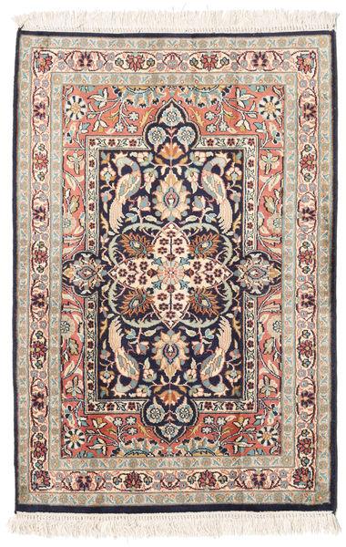 Kashmir 100% Silkki Matto 65X95 Itämainen Käsinsolmittu Beige/Vaaleanpunainen (Silkki, Intia)