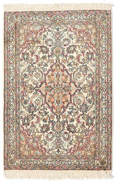 Kashmir Pure Silk Rug 65X95 Authentic  Oriental Handknotted Beige/Light Pink (Silk, India)