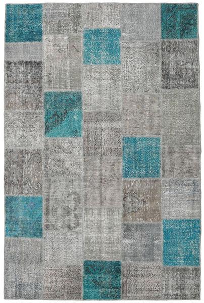 Patchwork Matto 200X301 Moderni Käsinsolmittu Tummanharmaa/Vaaleanharmaa (Villa, Turkki)