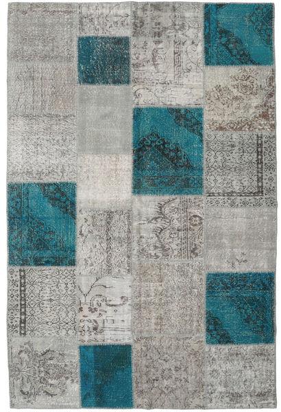 Patchwork Rug 196X300 Authentic  Modern Handknotted Light Grey/Dark Turquoise   (Wool, Turkey)
