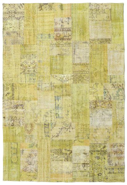 Patchwork Matto 204X300 Moderni Käsinsolmittu Keltainen/Vaaleanvihreä (Villa, Turkki)