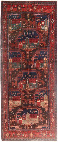 Bidjar Rug 125X310 Authentic  Oriental Handknotted Hallway Runner  Dark Red/Brown (Wool, Persia/Iran)