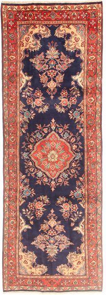 Sarouk Rug 107X308 Authentic  Oriental Handknotted Hallway Runner  Dark Purple/Brown (Wool, Persia/Iran)