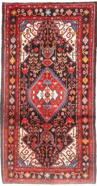 Nahavand Matto 155X297 Itämainen Käsinsolmittu Käytävämatto Tummanruskea/Tummanpunainen (Villa, Persia/Iran)