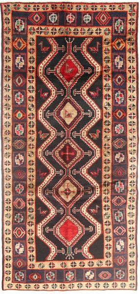 Koliai Rug 140X308 Authentic  Oriental Handknotted Hallway Runner  Brown/Dark Blue (Wool, Persia/Iran)