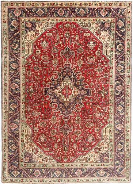 Tabriz Rug 200X282 Authentic  Oriental Handknotted Dark Brown/Dark Red/Light Brown (Wool, Persia/Iran)