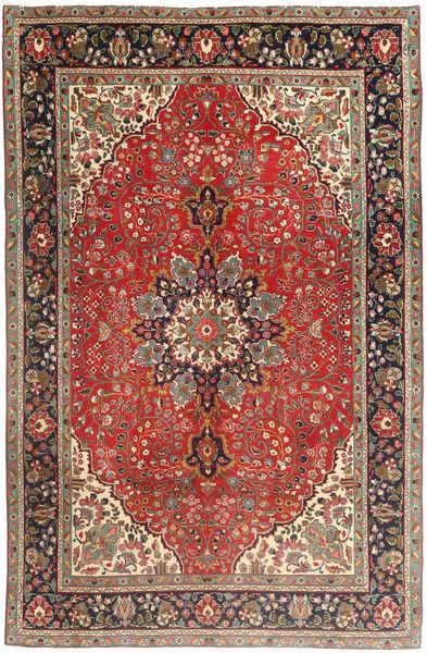 Tabriz Rug 190X284 Authentic  Oriental Handknotted Dark Brown/Dark Red (Wool, Persia/Iran)