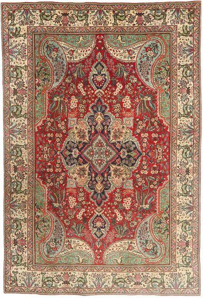 Tabriz Alfombra 196X295 Oriental Hecha A Mano Marrón Claro/Rojo Oscuro (Lana, Persia/Irán)