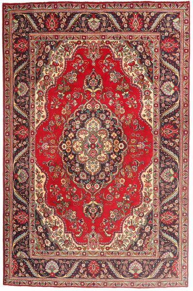 Tabriz Matta 197X300 Äkta Orientalisk Handknuten Mörkröd/Brun (Ull, Persien/Iran)