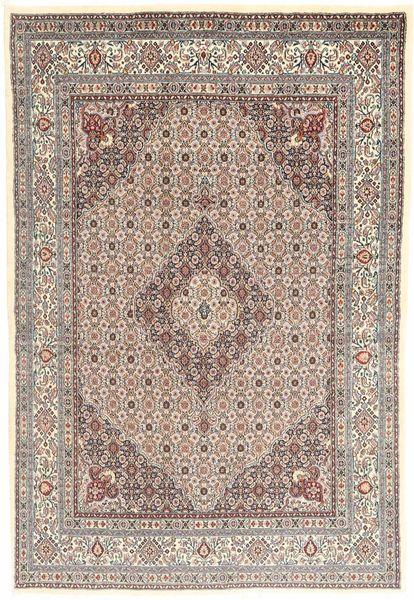 ムード 絨毯 138X204 オリエンタル 手織り 薄茶色/薄い灰色 (ウール/絹, ペルシャ/イラン)