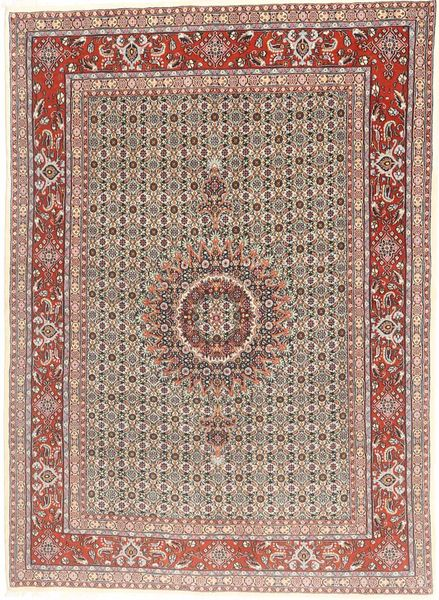 Moud Rug 144X200 Authentic  Oriental Handknotted Light Brown/Light Pink (Wool/Silk, Persia/Iran)