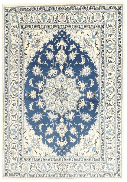 Nain Rug 150X206 Authentic  Oriental Handknotted Beige/Light Grey (Wool, Persia/Iran)