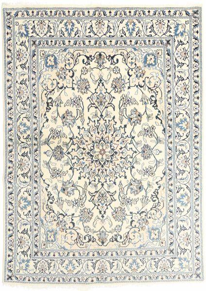Nain Tæppe 145X201 Ægte Orientalsk Håndknyttet Beige/Lysegrå (Uld, Persien/Iran)