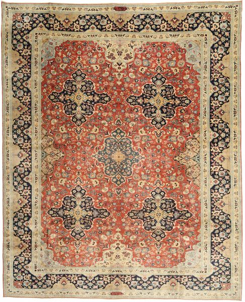 Yazd Patina Matto 295X378 Itämainen Käsinsolmittu Vaaleanruskea/Ruskea Isot (Villa, Persia/Iran)