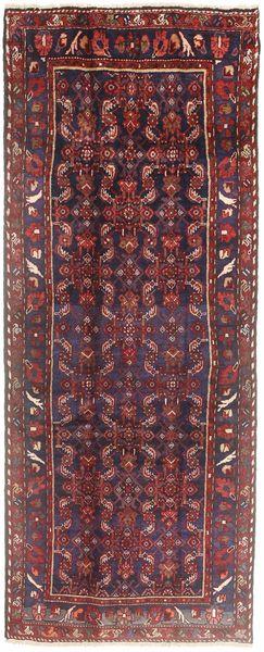 Hamadan Rug 114X288 Authentic  Oriental Handknotted Hallway Runner  Brown/Dark Red (Wool, Persia/Iran)