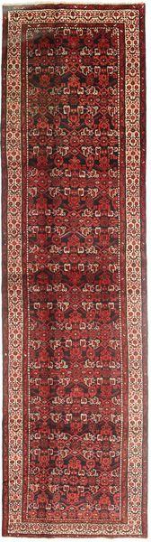 Hamadan Teppich  110X418 Echter Orientalischer Handgeknüpfter Läufer Braun/Dunkelrot (Wolle, Persien/Iran)