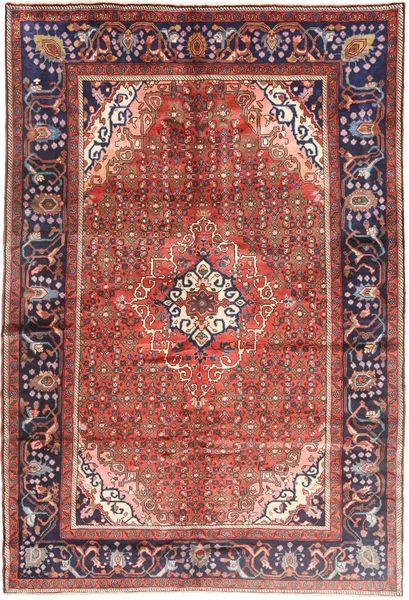 Hosseinabad Matto 203X305 Itämainen Käsinsolmittu Ruskea/Tummanvioletti (Villa, Persia/Iran)