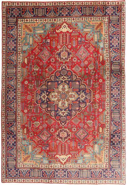 Tabriz Vloerkleed 197X290 Echt Oosters Handgeknoopt Purper/Donkerrood (Wol, Perzië/Iran)