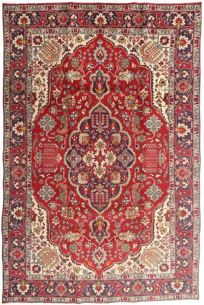 Tabriz Matto 194X300 Itämainen Käsinsolmittu Ruskea/Tummanpunainen (Villa, Persia/Iran)