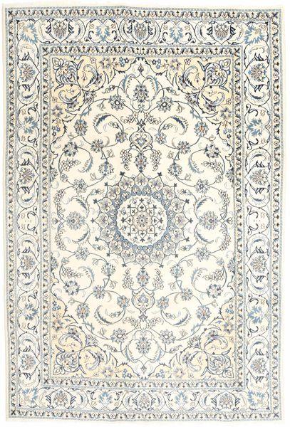 ナイン 絨毯 196X293 オリエンタル 手織り ベージュ/薄い灰色 (ウール, ペルシャ/イラン)