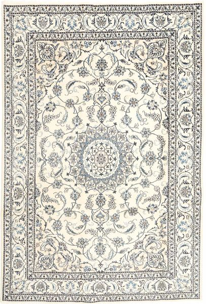 Nain Rug 196X293 Authentic  Oriental Handknotted Beige/Light Grey (Wool, Persia/Iran)