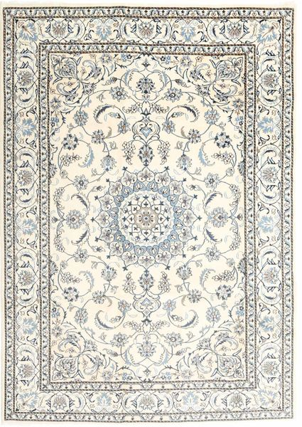 Nain Alfombra 197X286 Oriental Hecha A Mano Beige/Gris Claro (Lana, Persia/Irán)