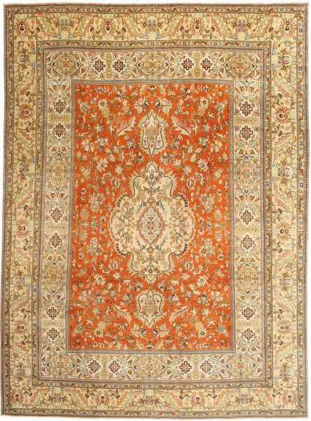 Täbriz Patina Teppich  270X373 Echter Orientalischer Handgeknüpfter Hellbraun/Braun Großer (Wolle, Persien/Iran)