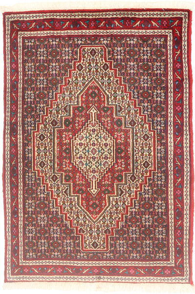 Senneh Matta 76X111 Äkta Orientalisk Handknuten Brun/Mörkröd (Ull, Persien/Iran)