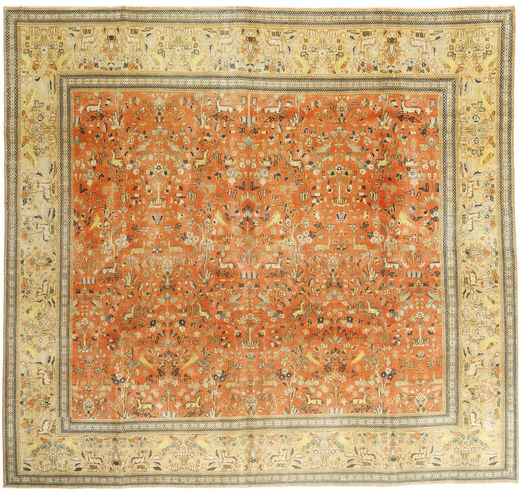 Tabriz Patina Rug 295X310 Authentic  Oriental Handknotted Square Light Brown/Yellow Large (Wool, Persia/Iran)