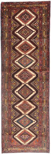 Hamadan Matta 110X343 Äkta Orientalisk Handknuten Hallmatta Mörkröd/Brun (Ull, Persien/Iran)